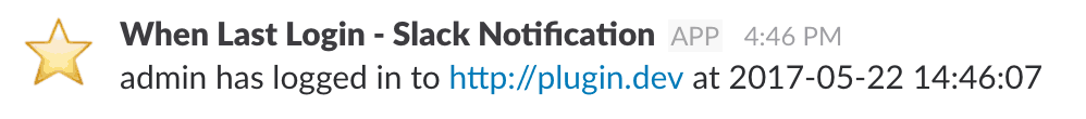 Screenshot of Slack Notification from When Last Login.