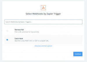 Creating a webhook in zapier