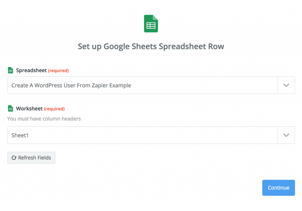 Select a Google Sheet inside Zapier