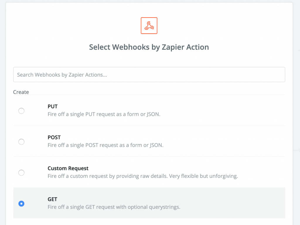 "Screenshot of the action step. Set it to ""GET"""