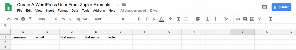create a wordpress user from zapier google sheets example