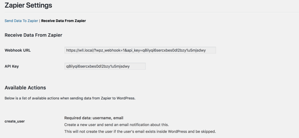 screenshot of receive data from zapier settings page