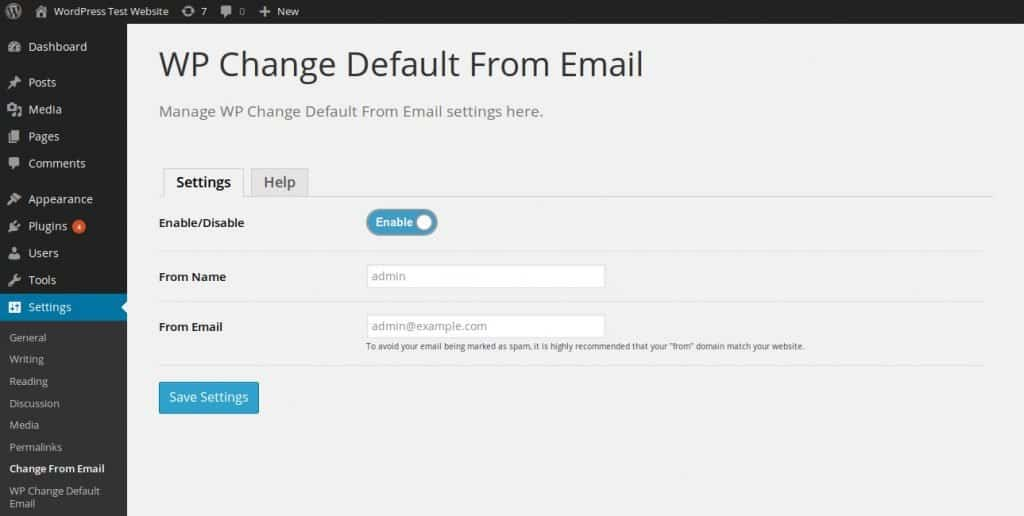 WP Change Default From Email Plugin