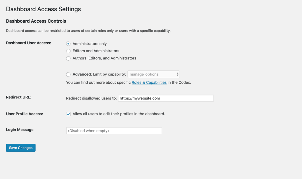 Settings page for Remove Dashboard Access plugin.