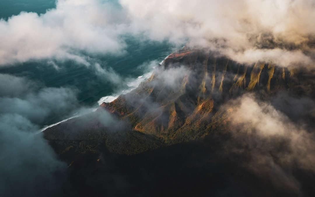Aerial shot of a mountain peak.