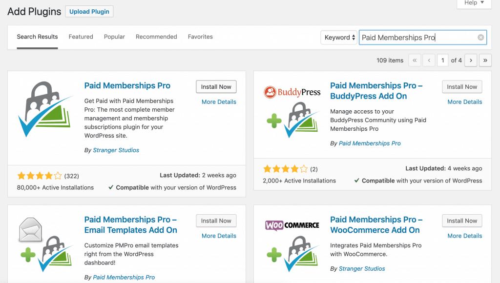 "Search for ""Paid Memberships Pro"" inside the WordPress plugin screen in the admin dashboard."