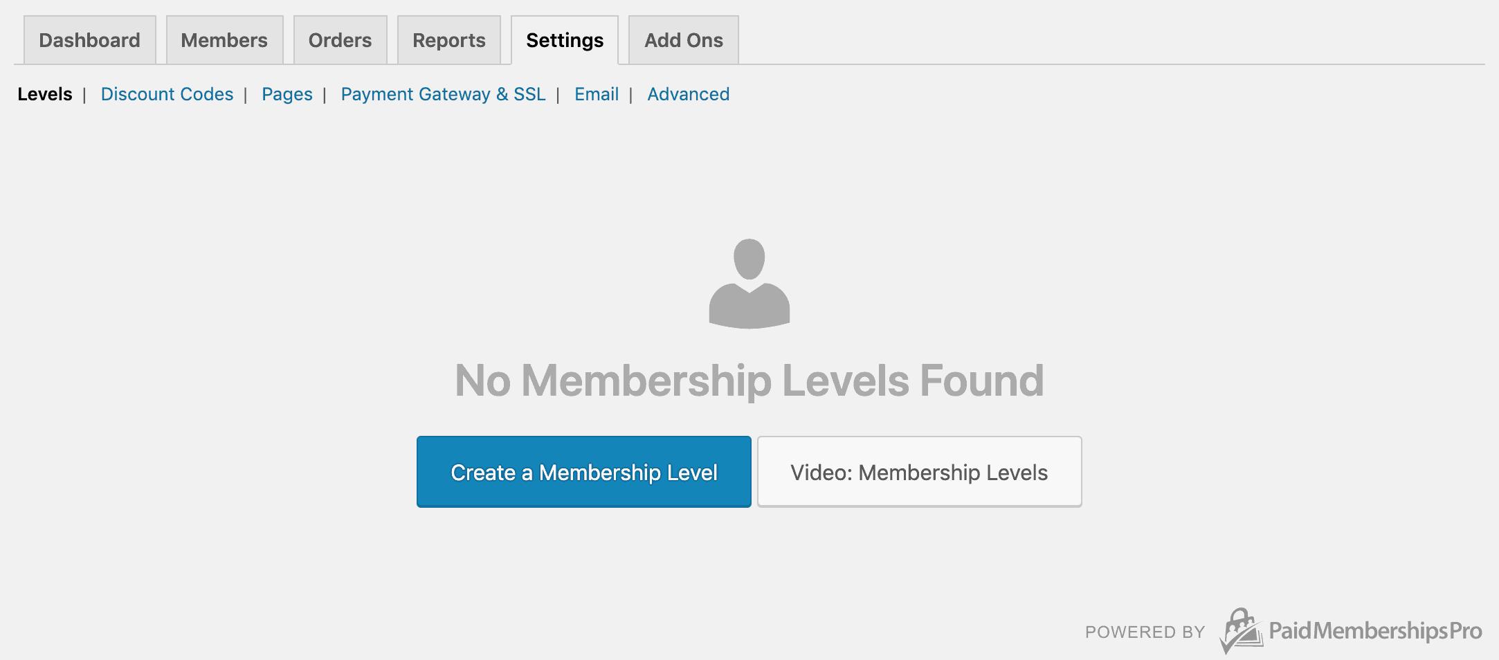 Screenshot of Membership Levels settings page PMPro.