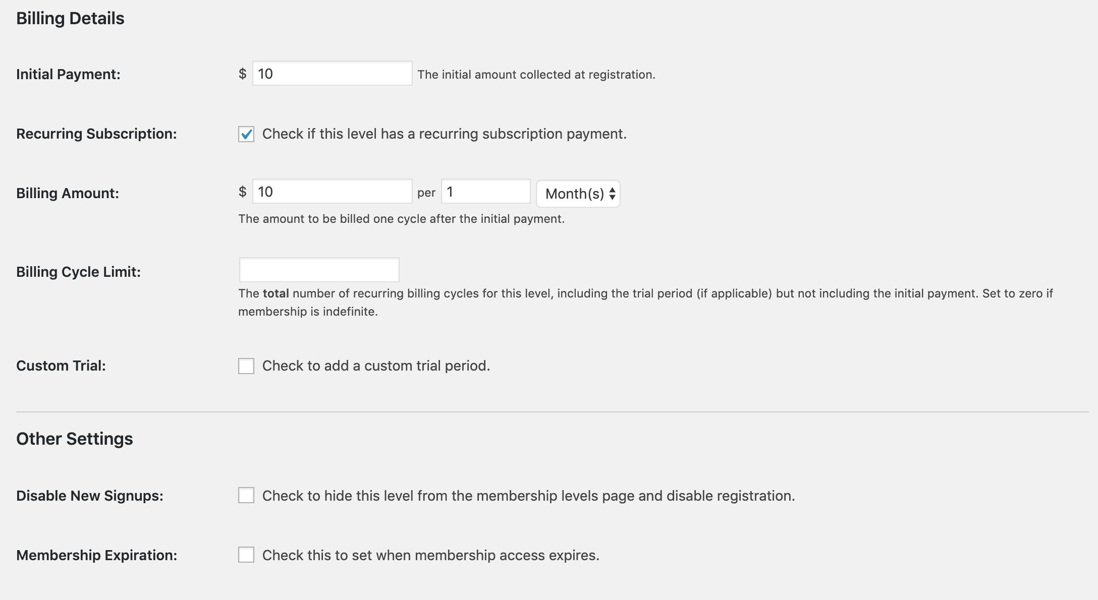 Screenshot of billing settings for Paid Memberships Pro.