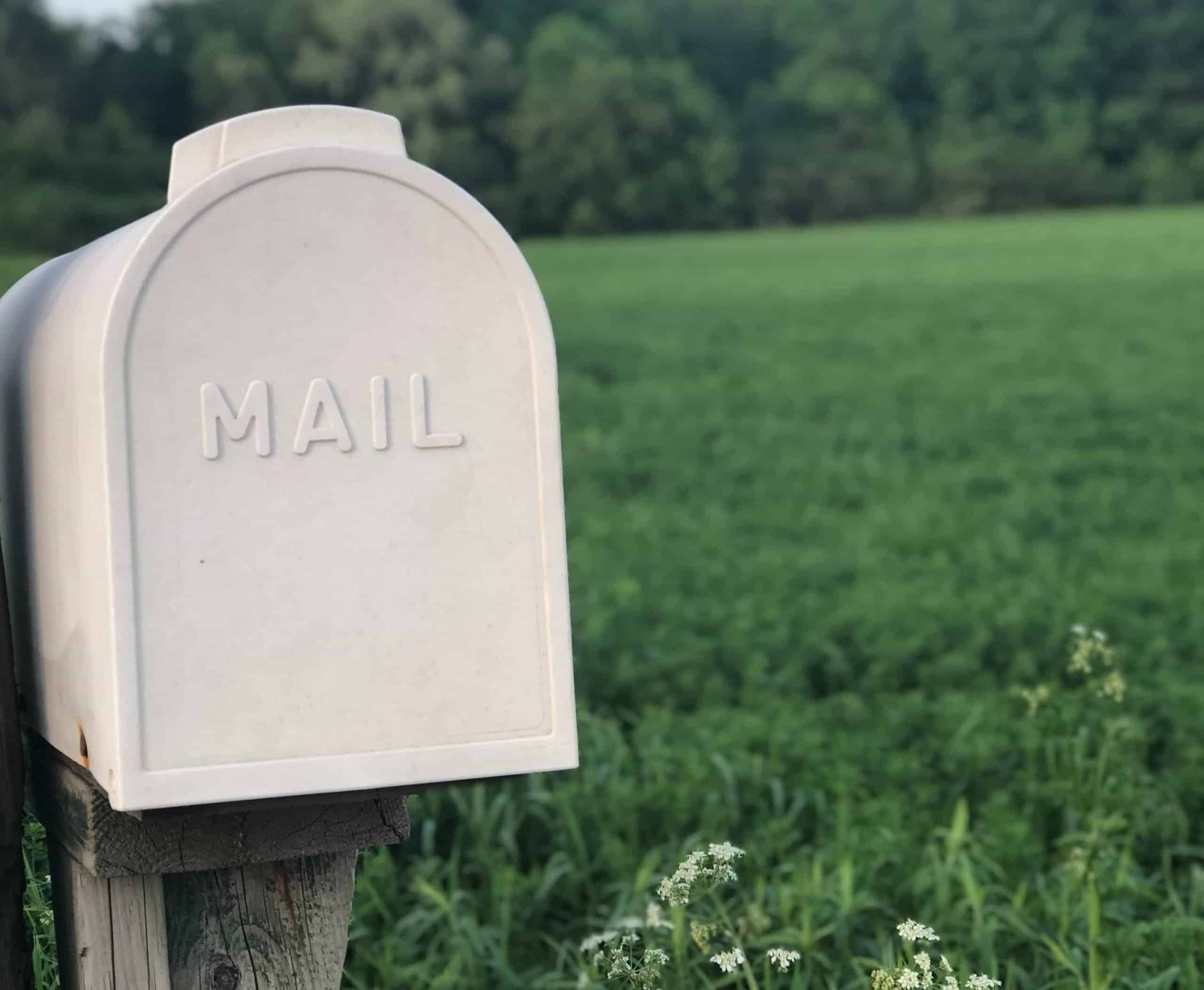 Postbox in a field.