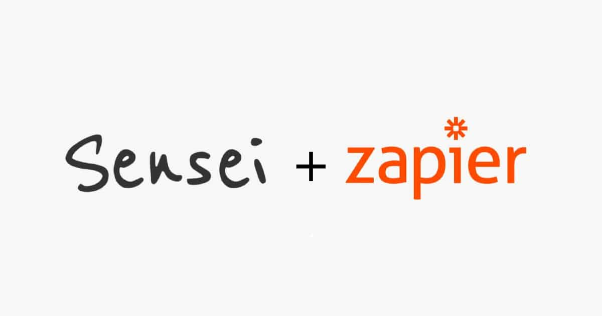 sensei LMS and Zapier logo