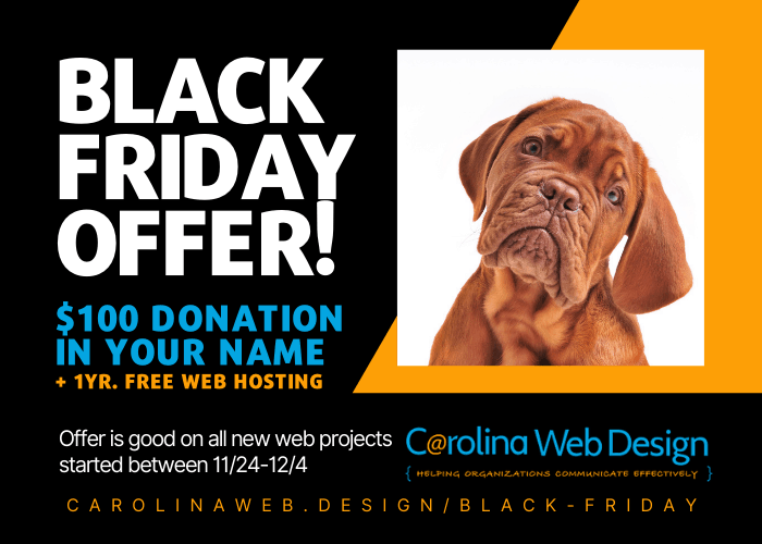 Carolina Web Design banner, links to https://carolinaweb.design/black-friday/