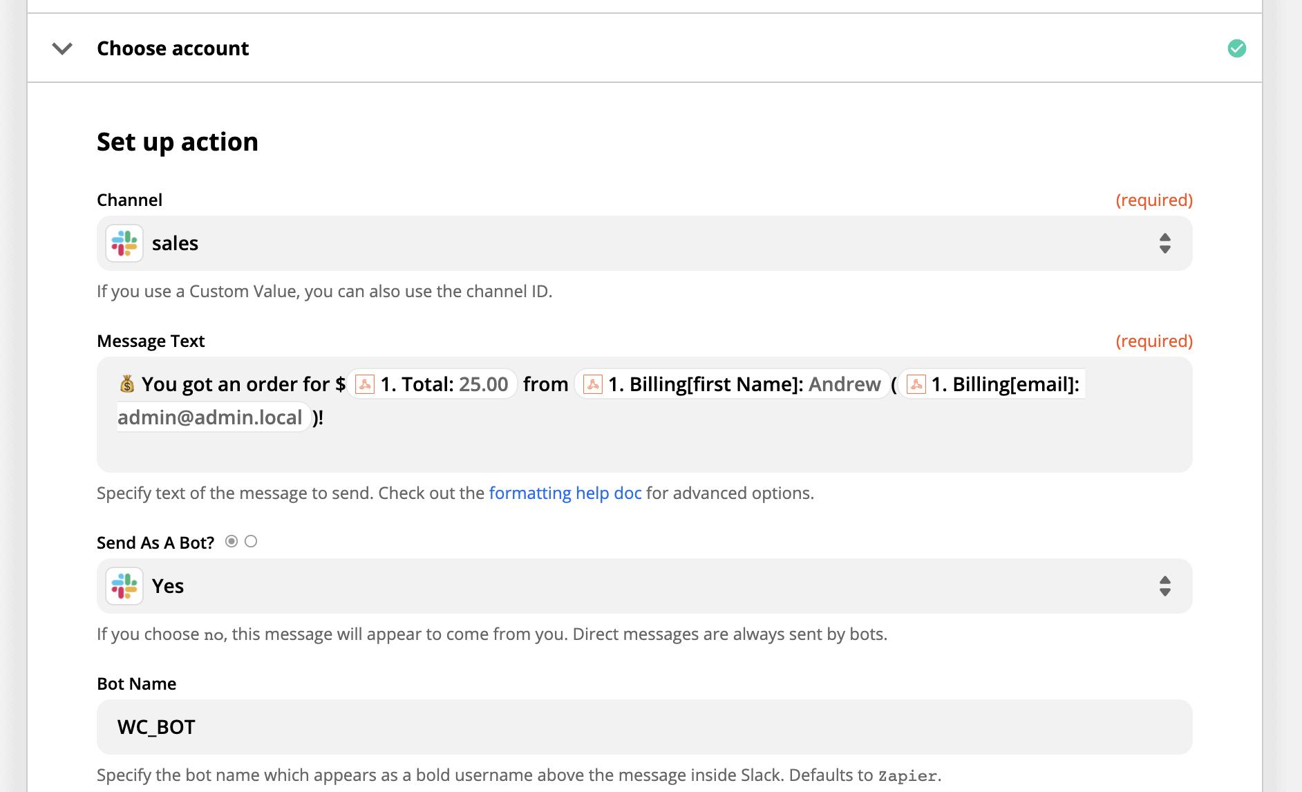 Example of Zapier's Slack message settings.