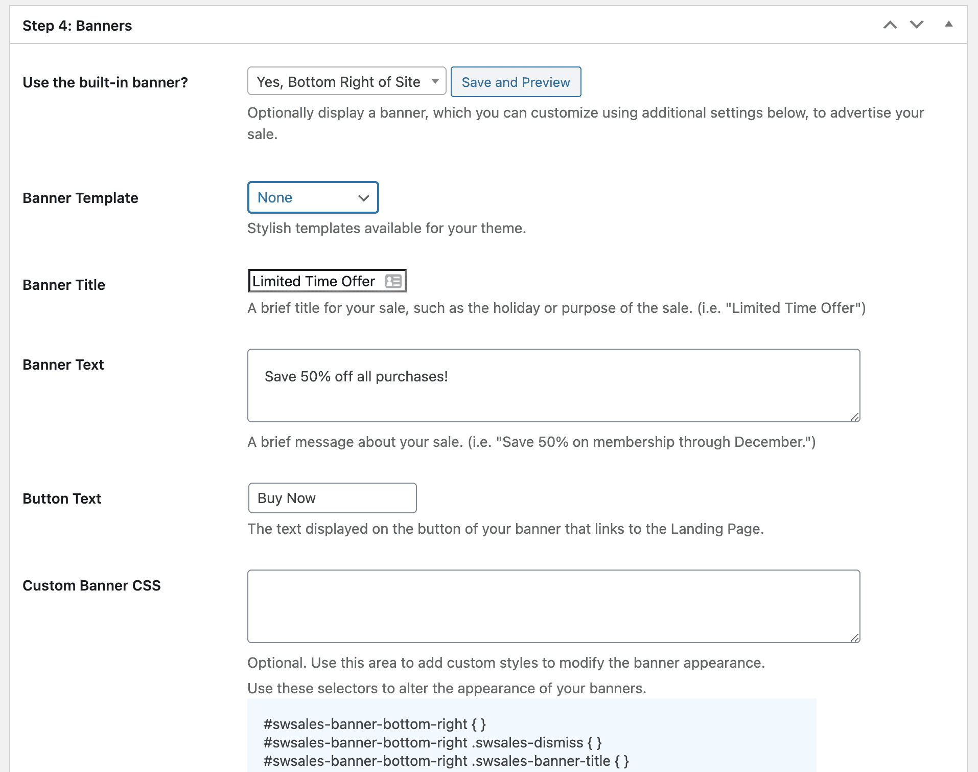 Example of Sitewide Sales Step 4 settings area.