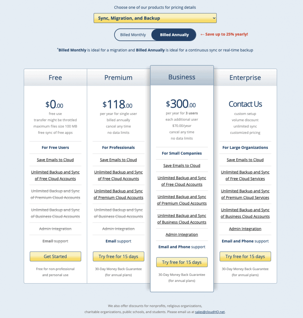 cloudHQ pricing table