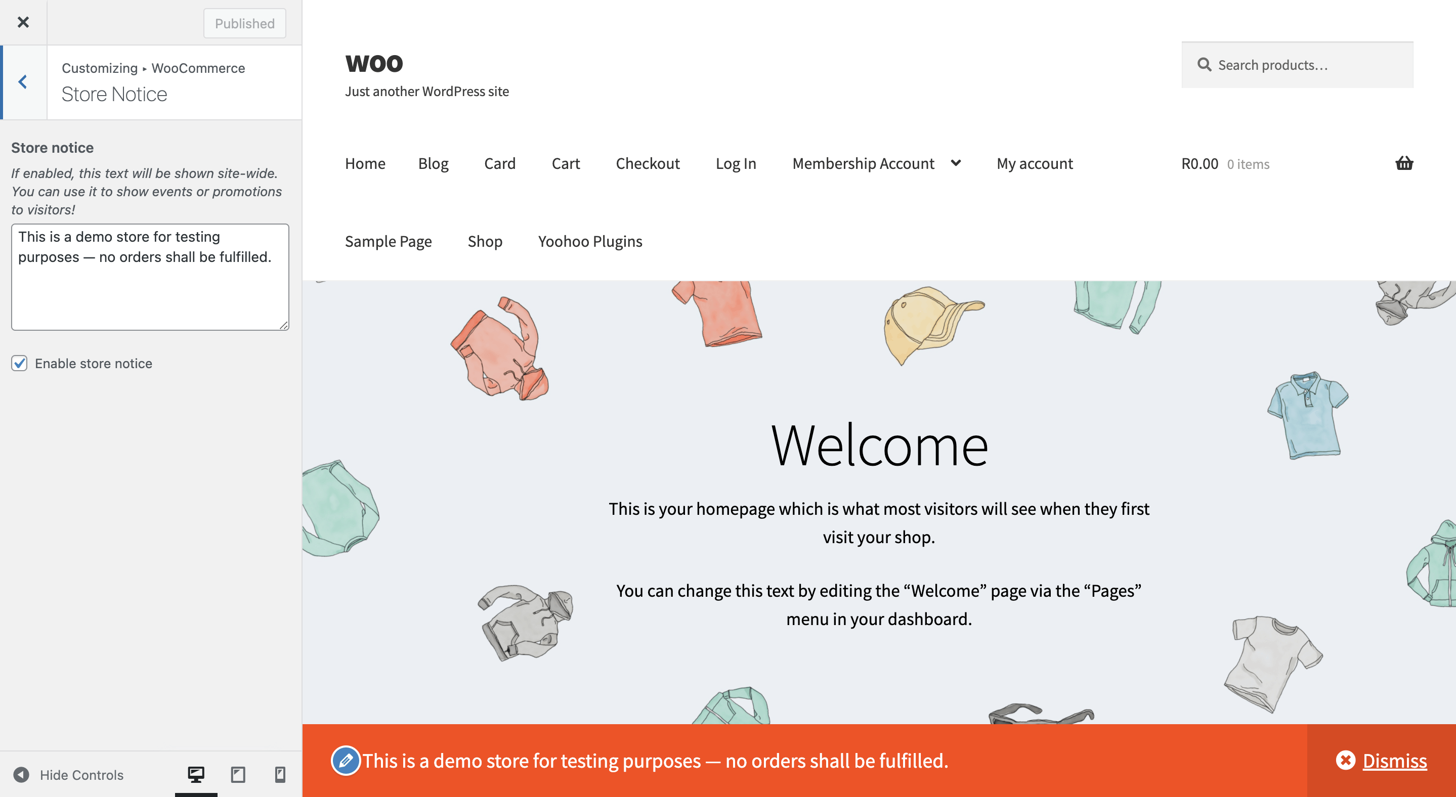 How to turn on the WooCommerce Store notice.